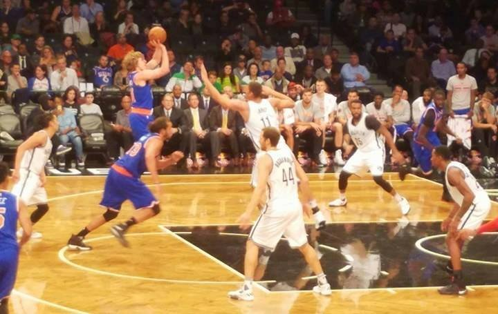 Ron Baker takes a shot in the New York Knicks' preseason game at Brooklyn Oct. 20.