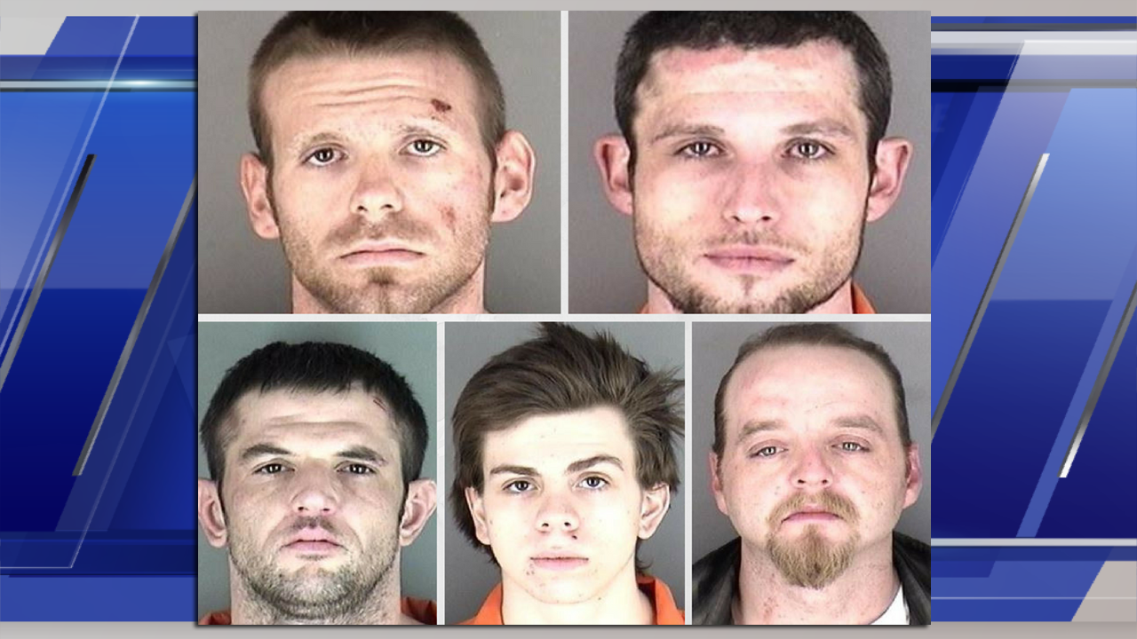 Top row : Richard Folsom, Joseph Lowry, Bottom row : Joseph Krahn, Shane Mays, Brian Flowers (Courtesy KTKA via Shawnee County Jail)