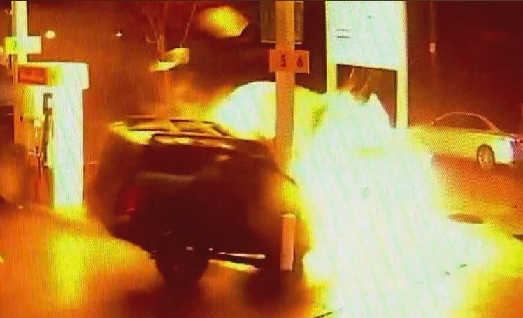 Vehicle crashes into United States  gas pump creating huge ball of flames