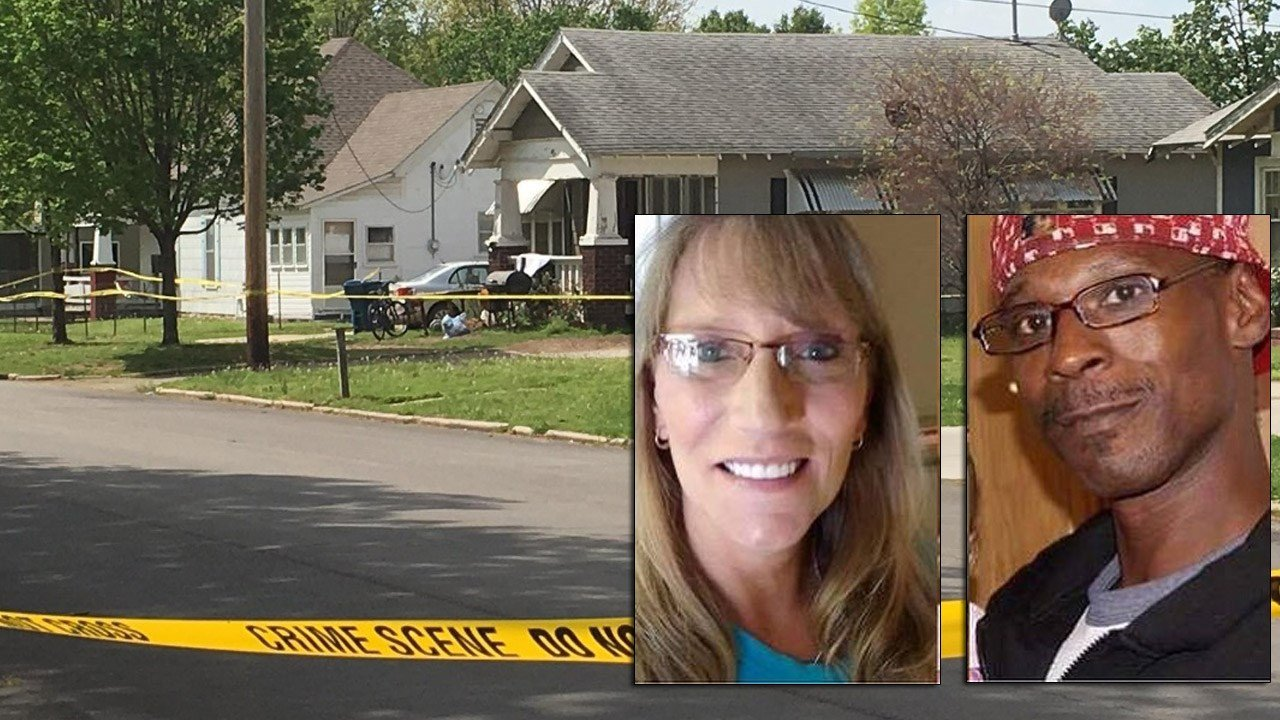 Scene of triple shooting with photos of Kimberly Bell and Reginald Johnson. Credit: KTUL
