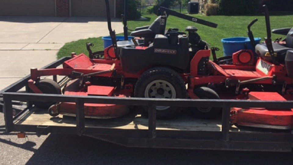 Two trailers carrying 5 mowers similar to this were stolen from Contour Landscape April 8.