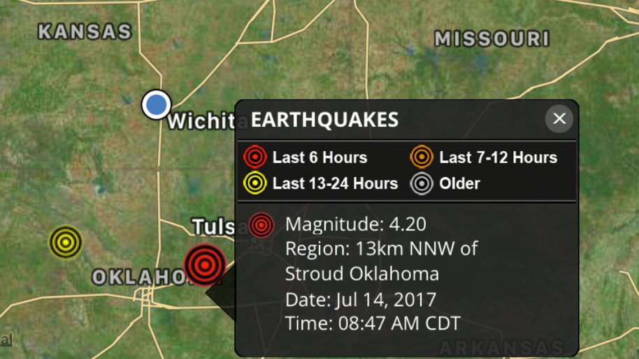 4.2 and 3.8 earthquakes rattle Oklahoma, Kansas