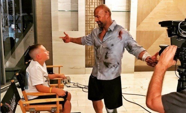 "The Rock/Instagram: ""Ladies and gentlemen, I finally met this real life 10yr old hero, Jacob O'Connor. He rescued his 2yr old brother after finding him facedown in their pool.  I said, not only do I shake hands, but when I meet heroic kids, I give hugs."""