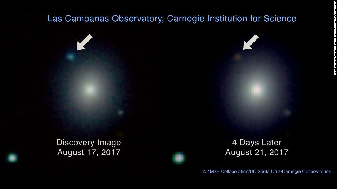 This image from Carnegie Observatories compares the collision's brightness on the day it was seen to four days later, when it cooled down