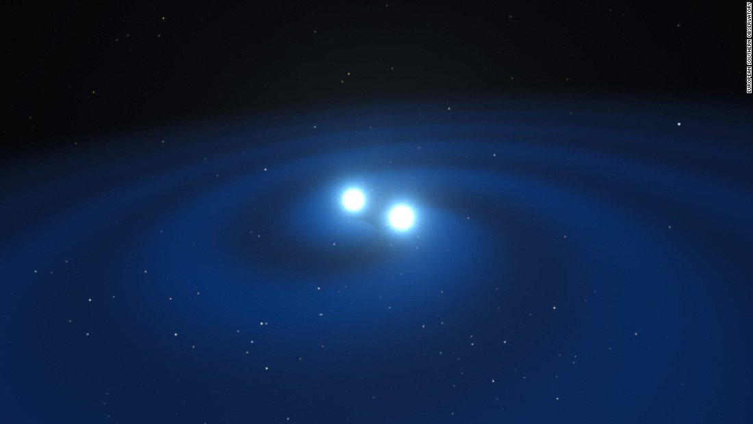 The two neutron stars spiraled around each other in a death dance before crashing into each other