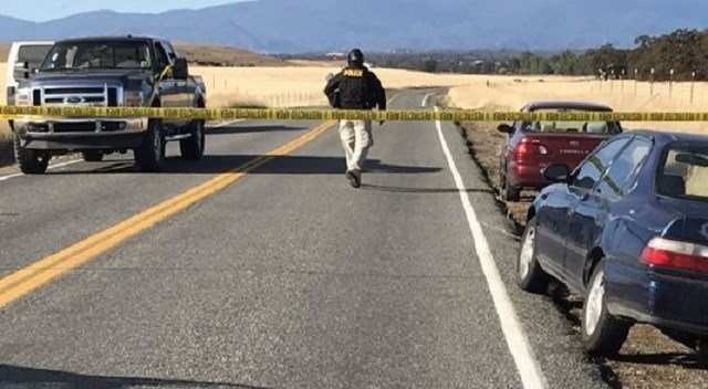 (Jim Schultz/The Record Searchlight via AP). Crime tape blocks off Rancho Tehama Road leading into the Rancho Tehama subdivision south of Red Bluff, Calif., following a fatal shooting on Tuesday, Nov. 14, 2017.