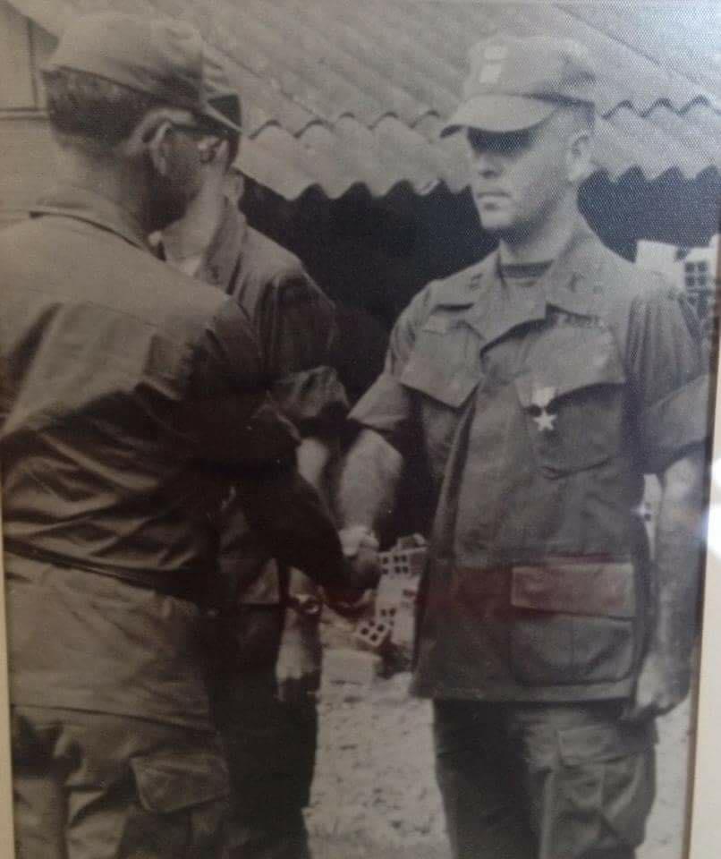 Army veteran Charles D. Sankey receives his Silver Star in Vietnam