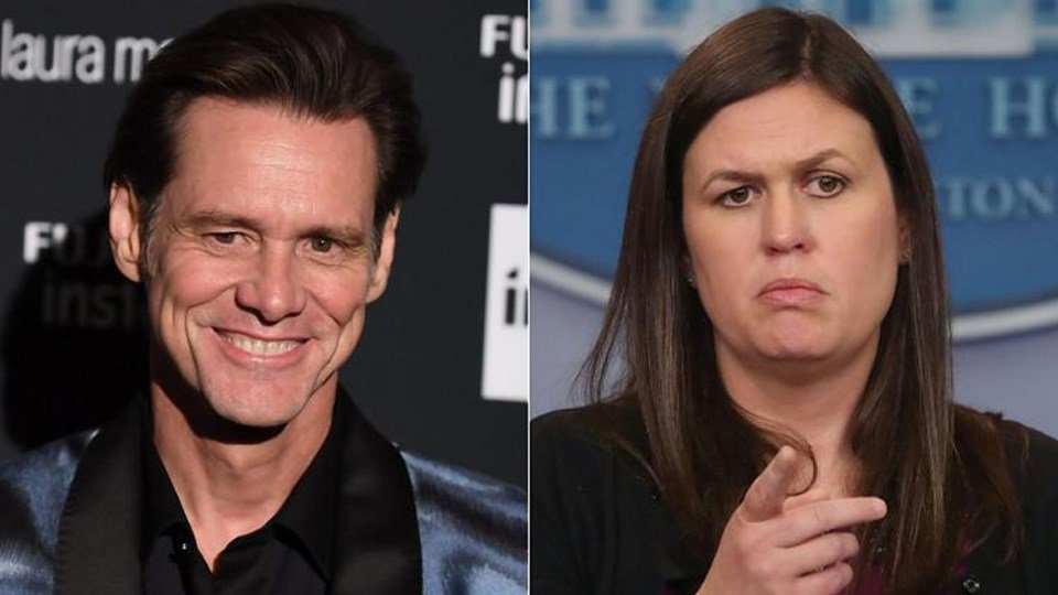 "Jim Carrey appeared to allude to White House Press Secretary Sarah Huckabee Sanders with his drawing of a ""so-called Christian."" (GETTY / GETTY)"