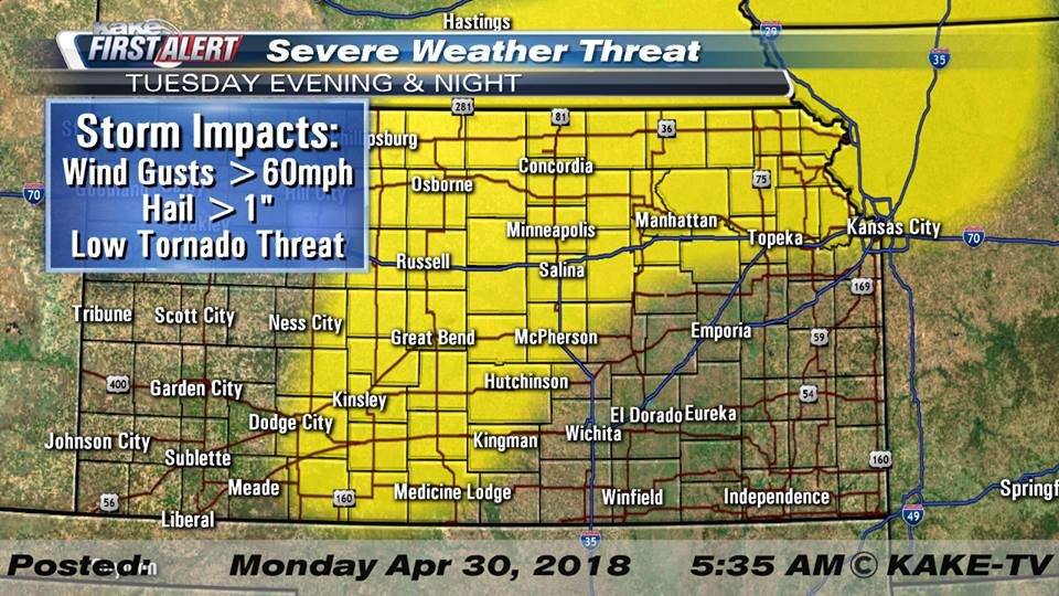 Severe storms possible after 7 pm tonight
