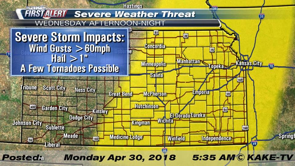 Severe thunderstorm warning expired for Lyon County, tornado watch still in effect