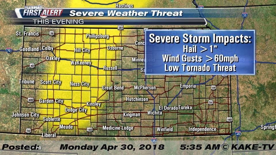 More than half of Kansas is in a tornado watch Wednesday