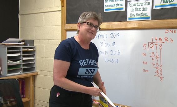 Sue Conner packs up her classroom