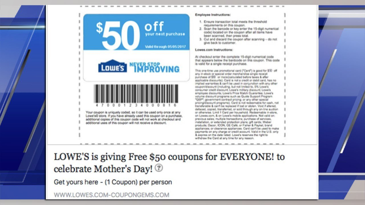 That $50 off Lowe's coupon on Facebook is fake