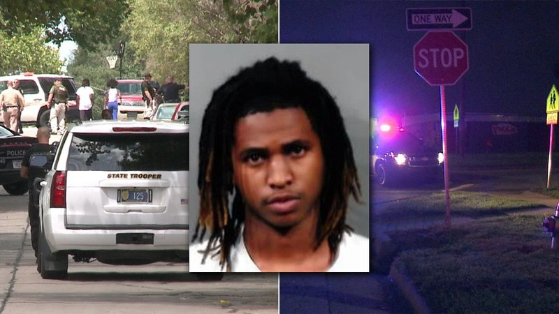 mugshot of Kerry Grant with pictures of scenes from Chautauqua shooting (left) and Ross Parkway shooting