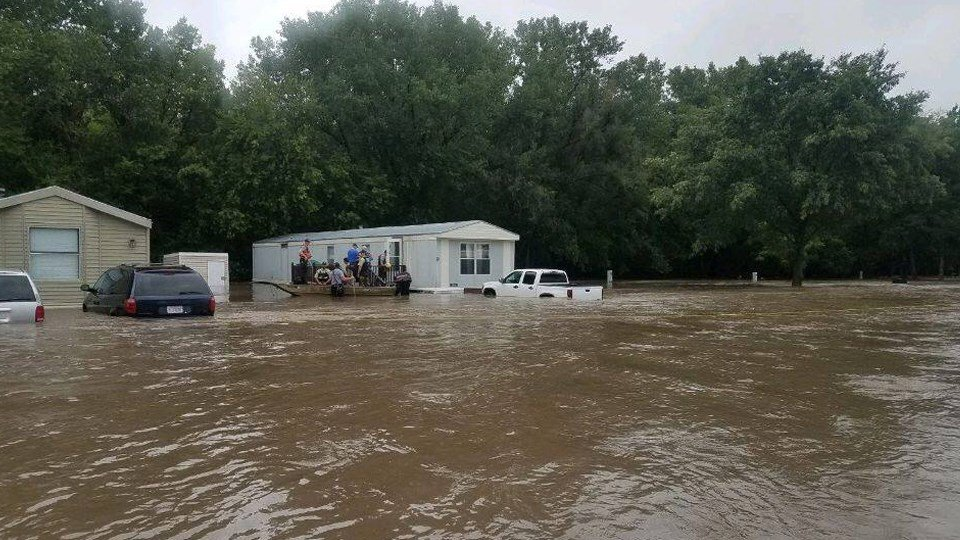 Over 300 people evacuated from flooded Kansas college town