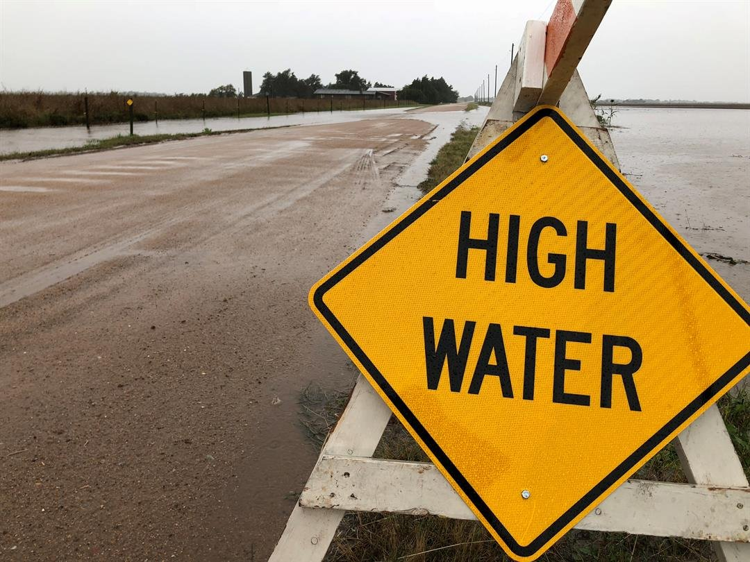 Flooded roads cause problems in rural Reno County.  More expected to flood through Tuesday.