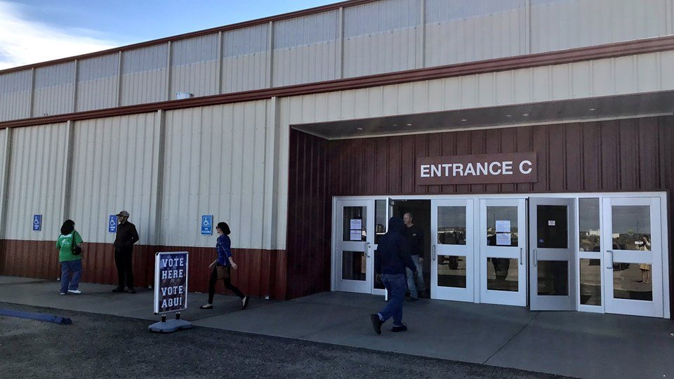 Voters enter the Expo Center south of Dodge City to cast their ballots on Election Day 2018.