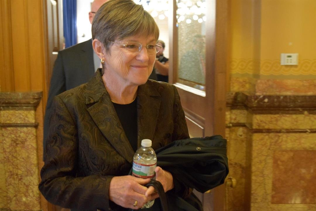 Laura Kelly leaving after her first news conference as Governor-elect of Kansas.