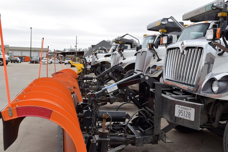 Wichita snow plows lined up and ready to go when the snow starts overnight Sunday to Monday.