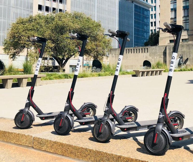 Bird electric scooters parked in Kansas City