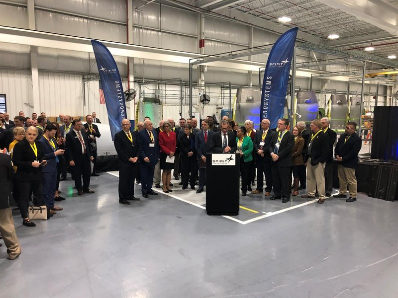 Spirit CEO Tom Gentile announcing the planemaker plans to add another 1,400 new jobs.