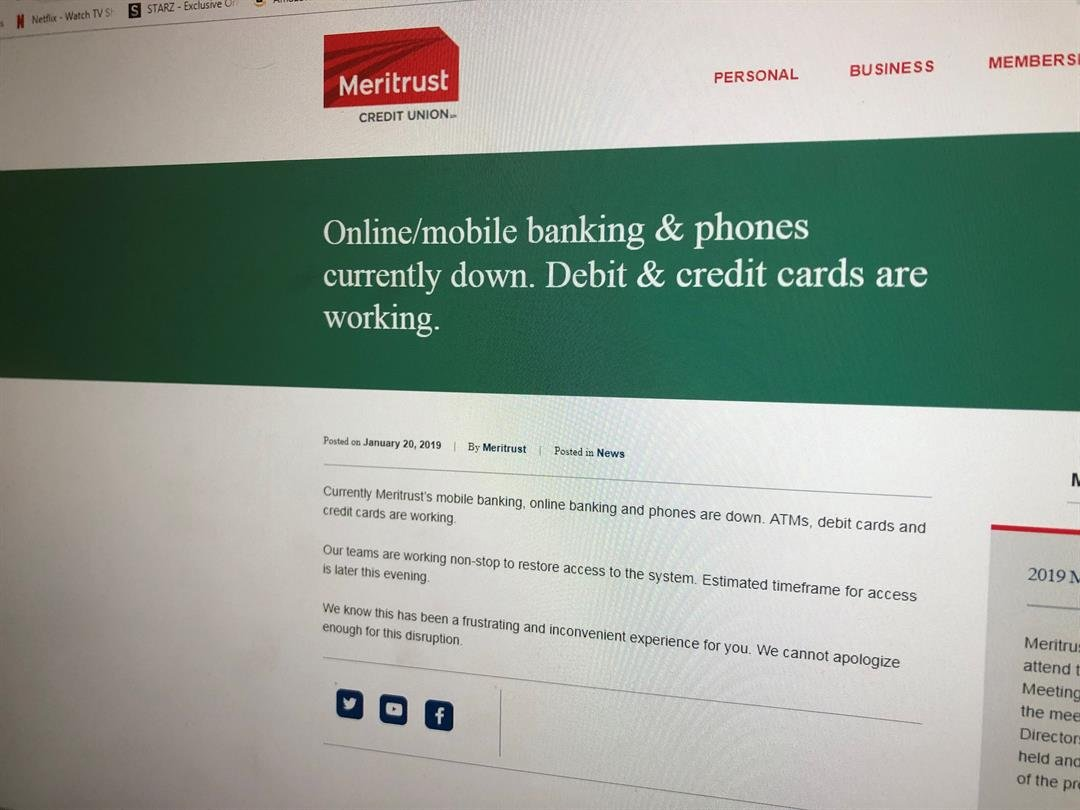 "A power surge Friday caused a ""complete hardware failure"" affecting online and mobile banking at Meritrust Credit Union over the weekend."
