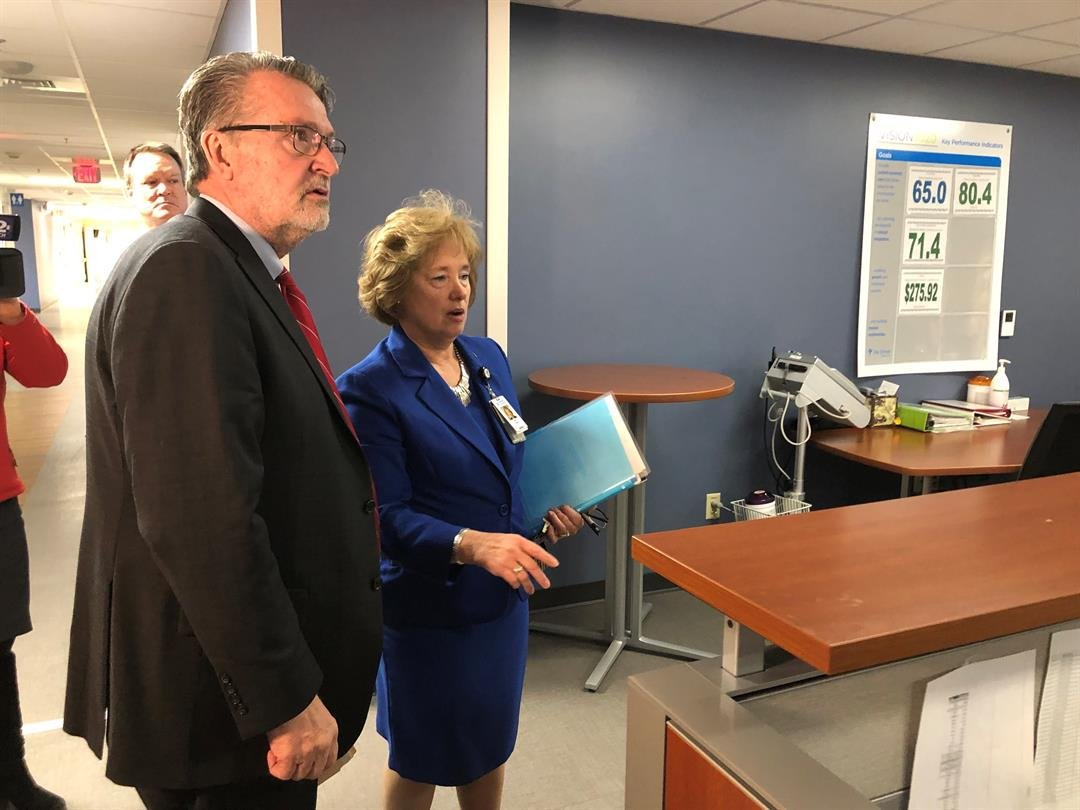 Lt. Gov. Lynn Rogers touring the updated facilities at Ascension Via Christi St. Joseph with on Thursday, January 31, 2019.