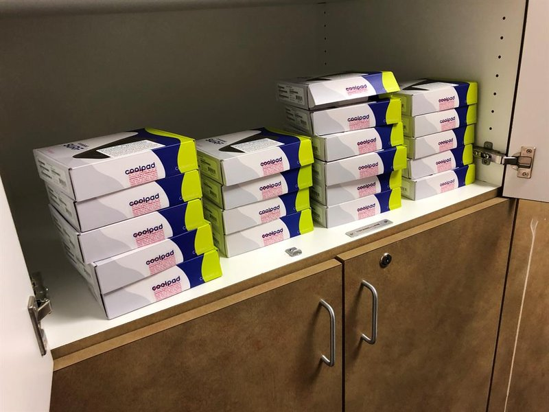 The TMobile hotspots stacked up in a cupboard at Colvin Neighborhood Resource Center, waiting to be checked out, on Thursday, February 7th, 2019.