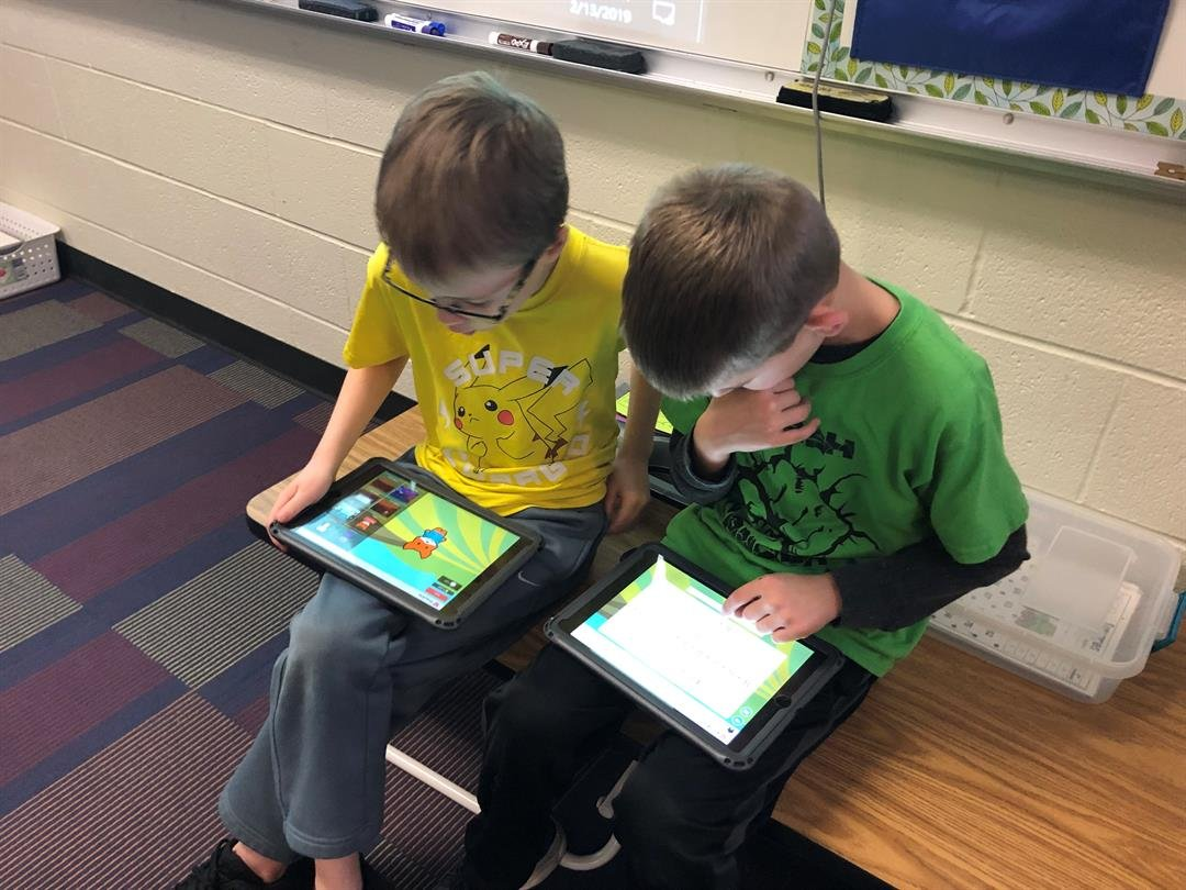 Two second graders at Valley Center's Wheatland Elementary study their math on Wednesday, February 13, 2019.