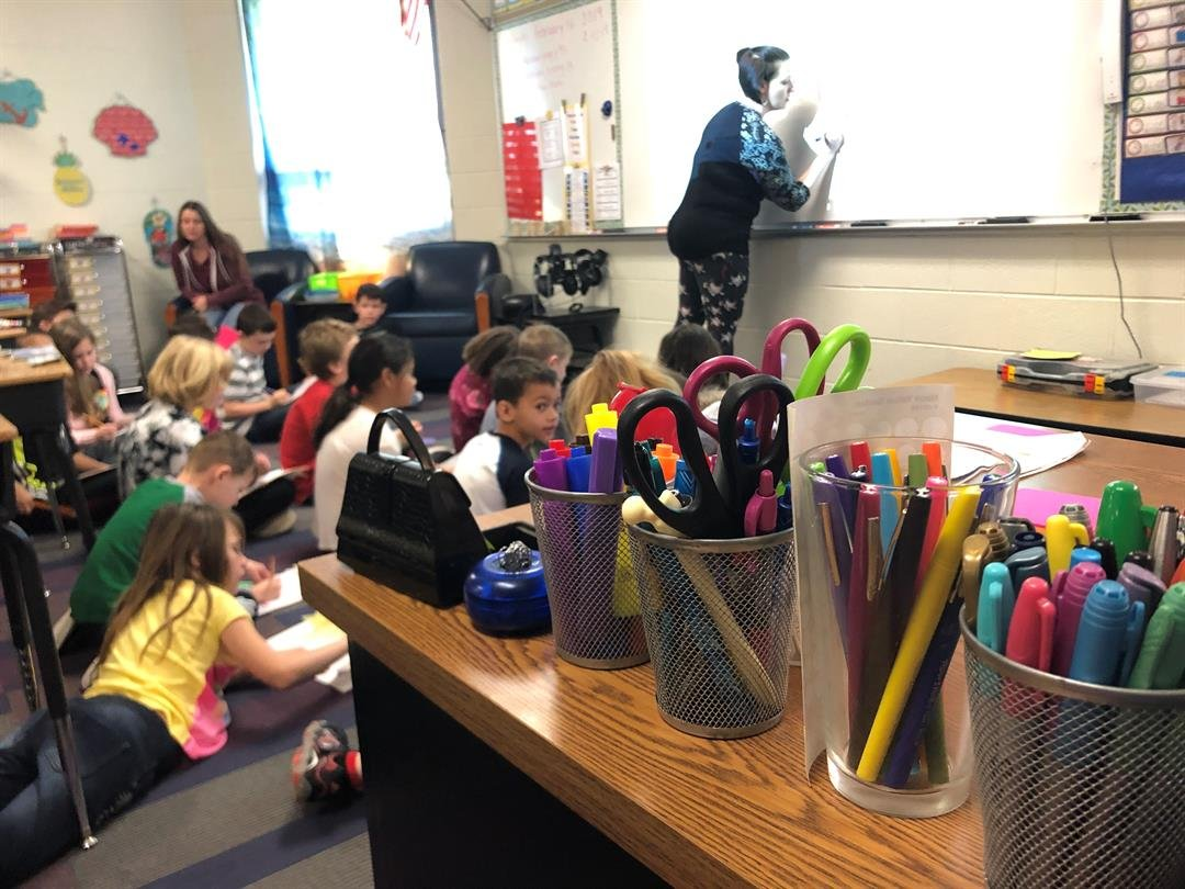Jami Burbach teaches a math lesson to second graders at Wheatland Elementary in Valley Center on Wednesday, February 13, 2019.