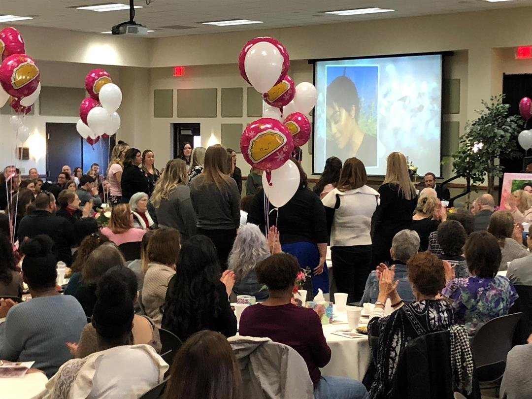 Several of the K.C. nurses and medical staffers who helped Zei for so many days made the trip to Wichita on February 24, 2019, to say goodbye.  Here they stand as the family honors their support of Zei.