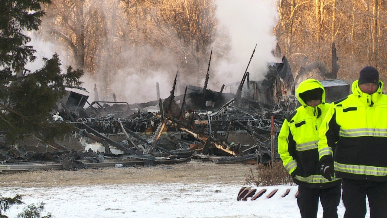 A woman died and a mother and her two children were injured in a house fire near Pretty Prairie on March 5, 2019 (KAKE)