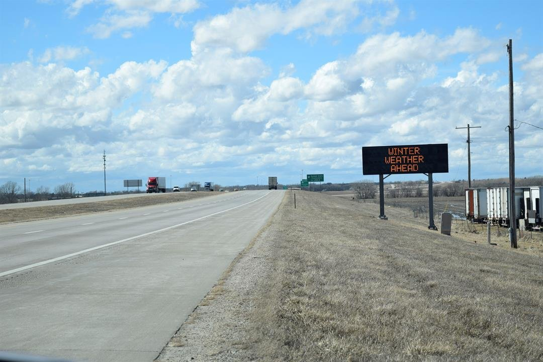 On Interstate 70 at Salina, a sign warns drivers the highway is closed west from Limon, Colorado, due to winter weather on Wednesday, March 13, 2019.