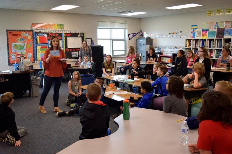 "Students at Maize South Elementary School learn the word ""essential"" in class Tuesday afternoon, March 19, 2019.  They discuss things that are essential at school, like teachers and classrooms, pencils and doing their homework."