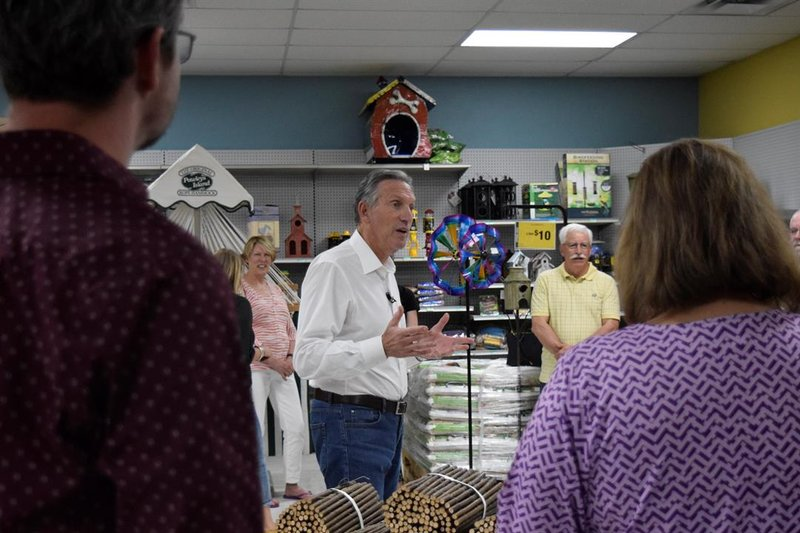 Howard Schultz shares his thoughts on what's needed to fix the country with possible supporters at a listening tour stop in McPherson, Kan, on Wednesday afternoon, April 10, 2019.