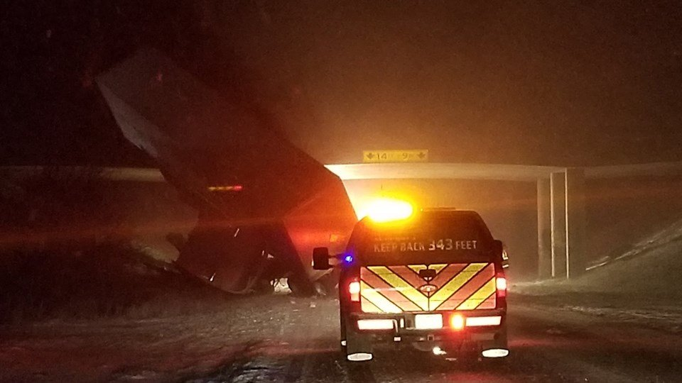 A tractor-trailer crash temporarily closed part of Interstate 70 Wednesday in western Kansas overnight Wednesday. (KAKE)