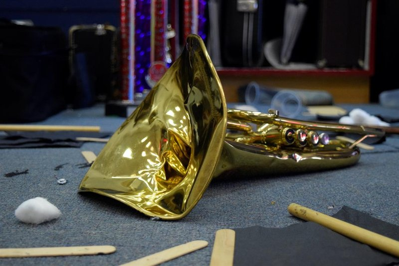 A mellophone damaged when vandals tore through the Pretty Prairie USD 311 music room over the weekend.  Monday, April 15, 2019, it lays surrounded by other debris scattered throughout the room during the attack.