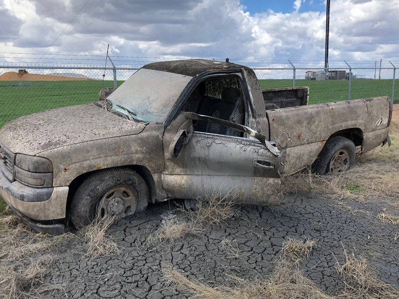 Truck stolen 13 years ago is found at bottom of Pratt County Veterans Memorial Lake this week. Here it sits on Thursday, April 18, 2019, after crews hauled it out of the lake and washed hundreds of gallons of mud out of it.