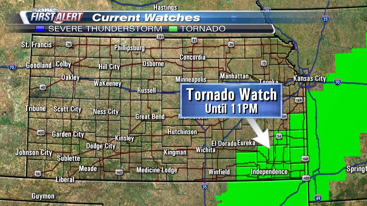 Tornado Watch issued in southeast Kansas
