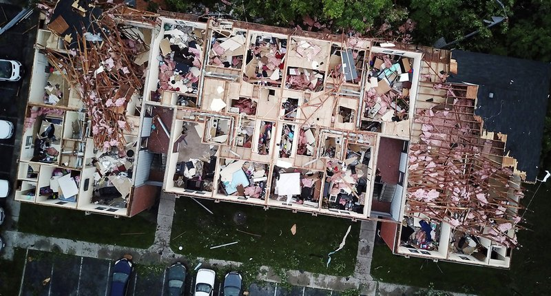 This aerial photo shows tornado damage at the Westbrooke Village Apartment complex in Trotwood, Ohio, Tuesday, May 28, 2019. (Doral Chenoweth III/The Columbus Dispatch via AP)