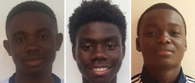 From left: Gedeon Desir, 13, Richecarde Dumay, 17, and Lens Desir, 15