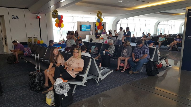 Passengers at ICT waiting to board Allegiant flight to Destin, Fla. (KAKE)
