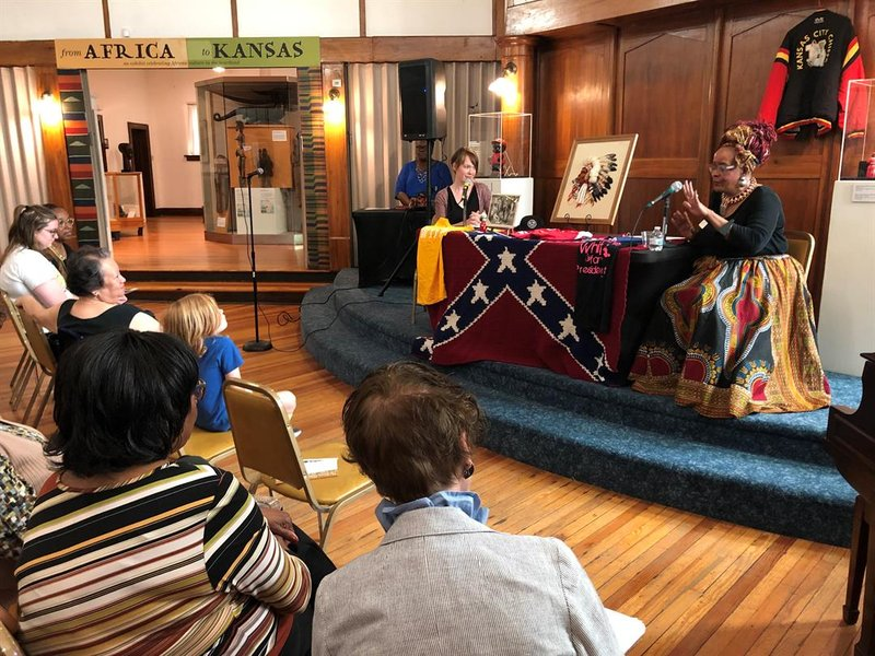 Leiah Lawrence and Michelle Armster discuss their experiences deciding what donated items count as racially charged and can't be sold at their thrift stores during a presentation at TKAAM on Wednesday, June 19, 2019.