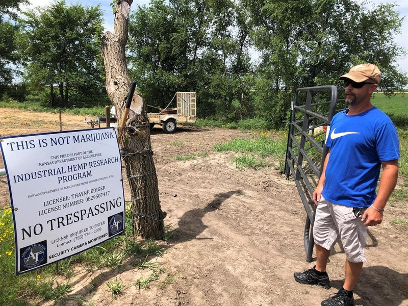 Thayne Ediger stands at the entrance gate to his two acres of hemp.  A sign warning the field is not marijuana is posted right by the entrance.