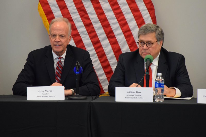 Attorney General William Barr and Senator Jerry Moran leading a roundtable discussion on crimefighting partnerships.