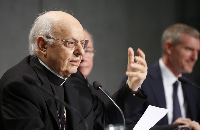 Cardinal Lorenzo Baldisseri, Secretary General of the Synod of Bishops, speaks during a press conference announcing the synod, at the Vatican, Thursday, Oct. 3, 2019.