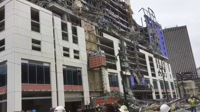 This photo provided by WWL-TV shows several construction standing after a large portion of the Hard Rock Hotel, under construction suddenly collapsed Saturday, Oct. 12, 2019 in New Orleans