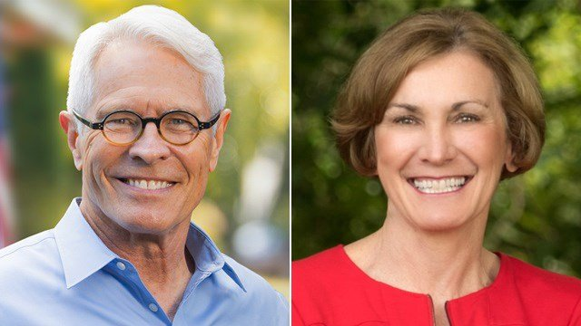 Barry Grissom (left) and Sen. Barbara Bollier