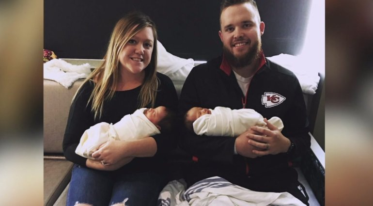 Kierstin and Kody with his twin daughters (WDAF)