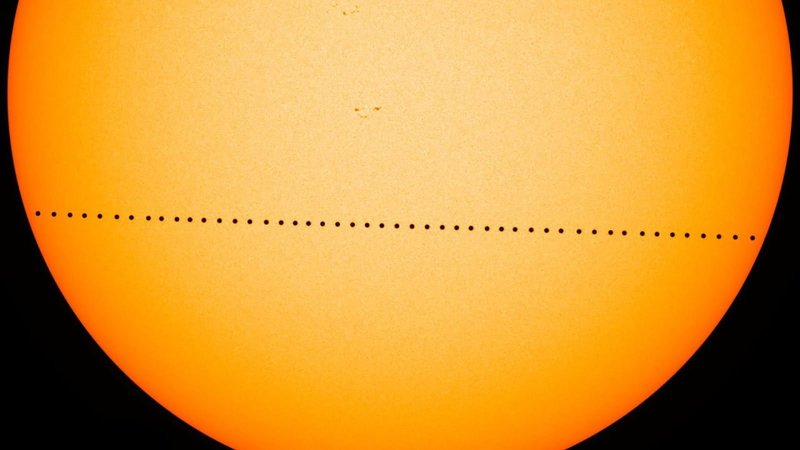 Mercury last passed across the sun in May 2016.  Full Credit: NASA's Goddard Space Flight Center/SDO/Genna Duberstein